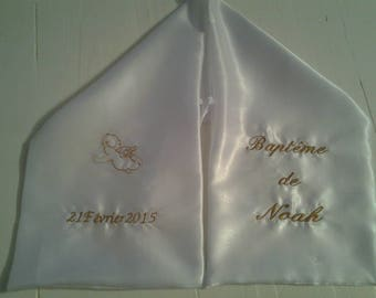 scarf christening and communion embroidered personalized satin