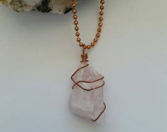 Love - Rose Quartz Necklace, Pendant, Copper Jewelry, Wire Wrapped Pendant, Heart Chakra, Relationship,Self Love, Attract Love,Unconditional