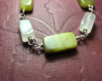 Jade and Quartz sterling silver bracelet