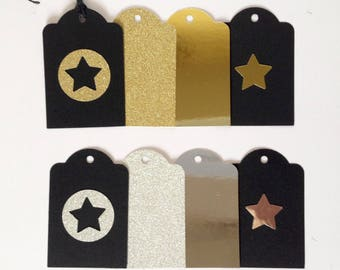 Set of 8 gift tags for Christmas, black, gold and silver