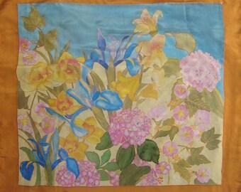 Silk scarf handpainted flower Decor