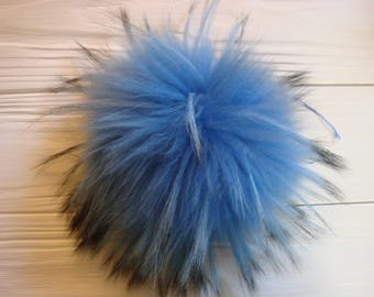 Luxury blue detachable real fur pom pom made from genuine raccoon fur for knitted hat, scarf or hood