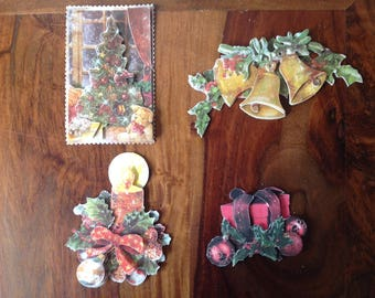 3D Christmas patterns, set of 4 images, handmade, ready to be used for cards, scrapbooking