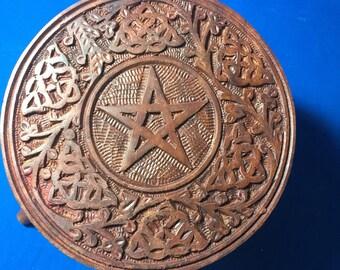 Collapsible Round Altar Table - 6 inch Hand Carved Celtic Pentagram Design