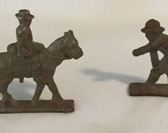 2 Antique WWI Lead Toy Soldiers