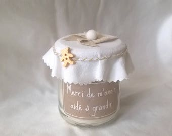 "Candle ""thank you nanny"" deco beige and white personalized"