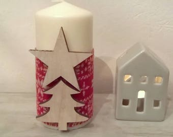 Ecru Ribbon patterns red wool Christmas candle wood 15 cm