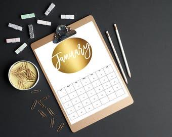 Foil 2018 Calendar   Diary   Calendar   Year   Month   Organiser   Printable Calendar   Month to a page