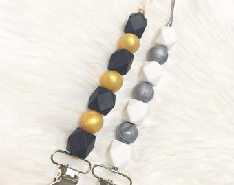 Pacifier clip, chewable clip, chewable beads, teething toy clip, eco friendly. Chewabel beads, silicone.