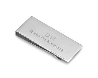 Engraved Steel Money Clip - Personalized Silver Money Clip - Men's French Fold Money Clip - Best Man Gift - Groomsmen Gift - Executive Gift