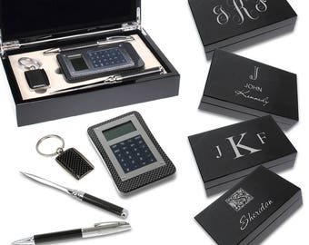 Pen, Key Chain, Letter Opener & Calculator in Monogram Box Gift Set - Personalized Luxury Desk Accessory Set - New Job Gift Idea