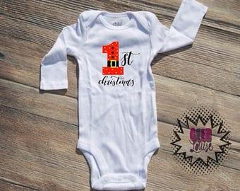 Christmas Bodysuit Infant  baby Unisex Cotton  t-shirt vinyl reindeer holiday xmas personalized