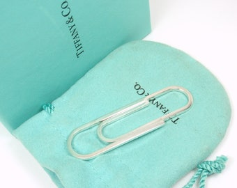 """Rare Vintage Tiffany & Co Sterling Silver Large 2.5"""" Paperclip Money Clip"""
