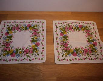 2 small Table cloth - Scandinavian Design - Frösö Hand Print - Mia L - Floralring