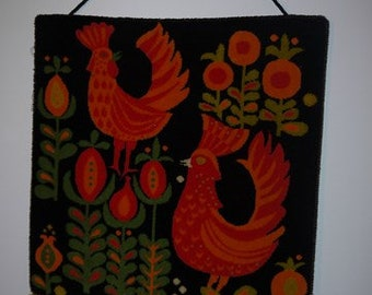 Wall Hanging - Retro - 70s - Pure New Wool - Rooster -