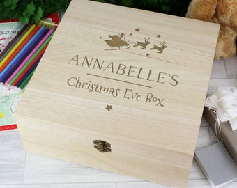 Children Baby Personalised Christmas Eve Box Wooden Keepsake Xmas Eve Box for Boys & Girls