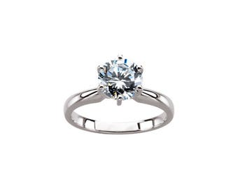 Forever One DEF Moissanite Solitaire Ring with 6 prongs
