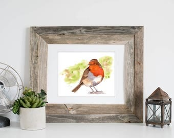 Chubby Robin, Art, Watercolor, Original Painting, 8 1/2 x 11, birds, robin, orange, brown, Birthday Gift, Housewarming Gift, Father's Day