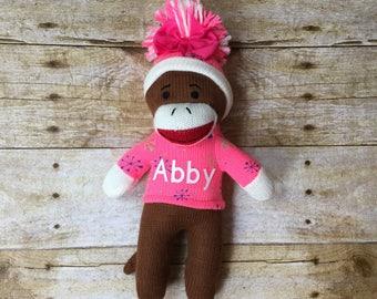 Pink Personalized Christmas Girl Sock Monkey