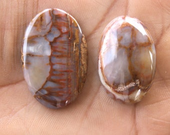 37x24 MM Designer Plume Agate Cabochon, Oval Plume Agate Gemstone 68.3 CTS Agate Gem for DIY wirewrapping Pendants Ring Jewelry Making Stone
