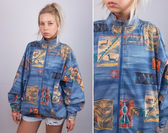 TRIGEMA Vintage 80's Retro Print with camels / Oversized Unisex Zip Jacket Windbreaker/ Made in West Germany / Size M-L