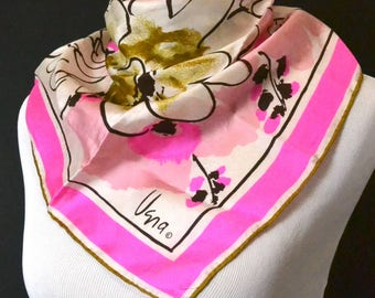 Vintage Designer Scarf, Vera Neumann, All Silk, Hand Rolled Edge, Vibrant Pink Scarf, Made in Japan, Fine to Excellent Condition