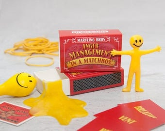 SUMMER SALE Stress Relief Kit In A Matchbox - Anger Management - Stress Reliever - Gift For Work Colleagues