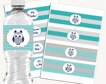 Owl Baby Shower Water bottle labels. Teal Gray Boy Baby shower. Printable labels. Drink stickers. Instant download