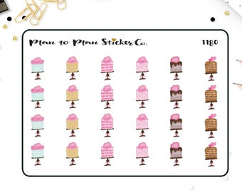 1180~~Glam Birthday Cakes Planner Stickers.