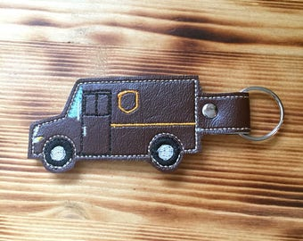 Delivery Truck Driver Key Fob | UPS Mail Carrier Key Chain | Delivery Man Gift | Letter Carrier | Mail Lady Gift | Postal Worker