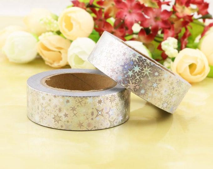 Silver Foil Washi Tape - Holographic star  Washi Tape - Halloween washi Tape - Paper Tape - Planner Washi Tape - Washi - Decorative Tape