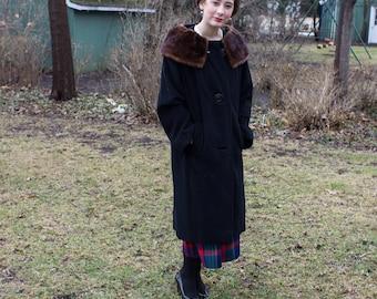 Black Vintage Fur Coat, Womens Vintage Coat, Vintage Fur Coat, 50's Vintage Fur Coat, Womens Vintage Clothing, Womens Vintage Coats, Vintage