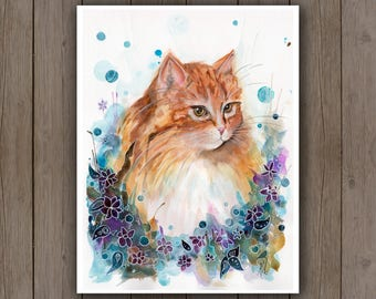 Watercolour Art Print - Glamorous Ginger Cat / Watercolor Splatter Painting / Surreal Floral Flowers / Beautiful Orange Kitty Maine Coon