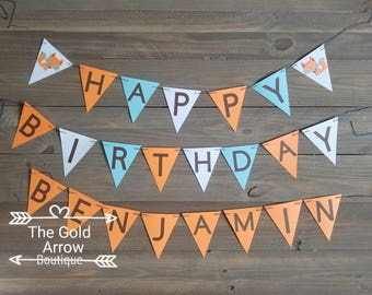 Woodland Happy Birthday Banner, Personalized Woodland Banner, Forest Friends Banner with Name