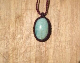 with a semi precious amazonite macrame necklace