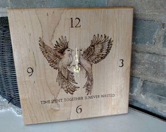 Woodburned / Family/ Clock Wood   Time Well Spent   Engraved   Pyrography