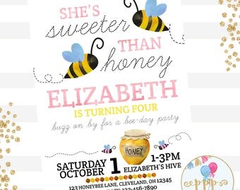Sweeter Than Honey Bumble Bee Birthday Invitation