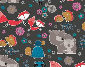 "Mama & Me Fabric Collection - Carbon Woodland Characters by Andrea Turk , 43-44"" wide, 100% cotton, by the half yard"
