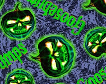 """Goosebumps pumpkins glow in the dark by Springs Creative, 43-44"""" wide, 100% cotton, by the half yard, GITD fabric, book fabric"""