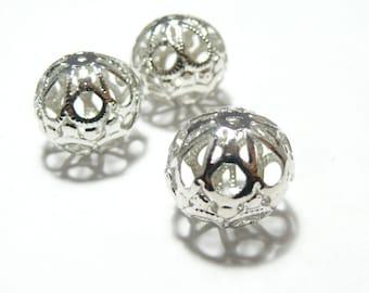 10pcs beads silver Platinum arabesque ref P64Y 18 mm