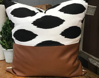 Black and White W/ Faux Leather Pillow Cover