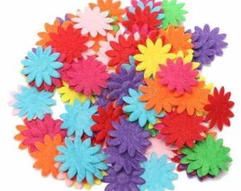 Set of 50 felt flowers