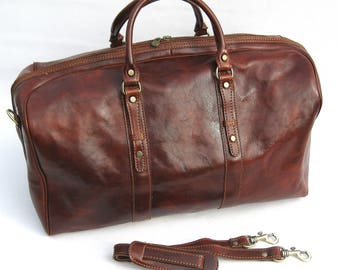 Enzo Olletti Italian Leather Travel Duffle Bag