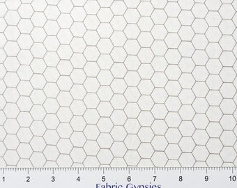 """Riley Blake Designs """"Bee Backgrounds"""" By Lori Holt ~Backgrounds HONEYCOMB ~ C6387-GRAY ~ Low Volume ~ Half Yard Increments"""