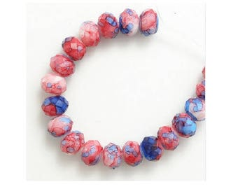 set of 10 glass crystal faceted 8 mm marbled beads