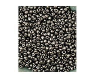 20 g, 2 mm metallic gray color glass seed beads