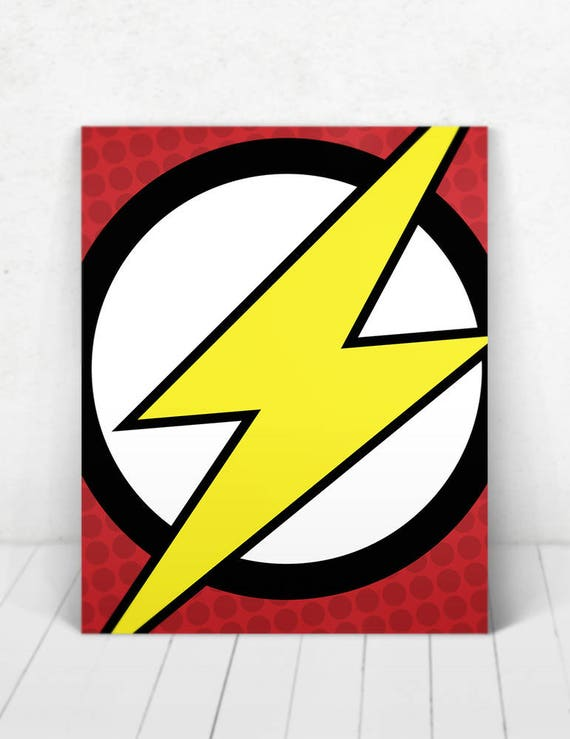 Superhero The Flash Pop Art Wall Art  / The Flash Logo Pop Art / The Flash Logo / The Flash