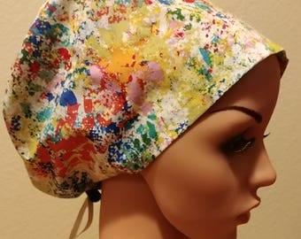 Women's Surgical Cap, Scrub Hat, Chemo Cap, Splatters