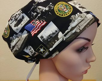 Women's Surgical Cap, Scrub Hat, Chemo Cap, United States Army