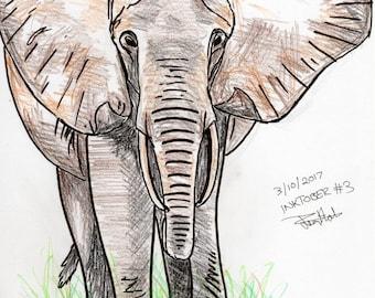 Inktober #3 2017 - Elephant [PRINT]